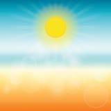 Vage de zomerachtergrond de zon glanst helder Stock Fotografie