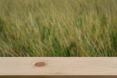 Vage heideachtergrond met lege houten Stock Afbeelding
