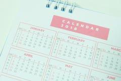 Vage kalenderpagina 2018 Stock Afbeelding