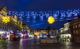 Vage Kerstmisdecoratie in oud stadsvierkant, Poznan, Polen Stock Afbeelding