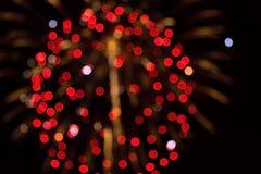 Vage lichten op een donkere achtergrond vuurwerk Royalty-vrije Stock Afbeeldingen