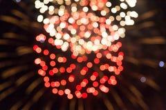 Vage lichten op een donkere achtergrond vuurwerk Royalty-vrije Stock Afbeelding