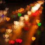Vage Multi de Kleurenlichten van Defocused in de vorm van Hart Royalty-vrije Stock Afbeelding
