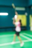 Vage speler in badmintonhof Royalty-vrije Stock Foto's