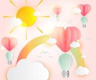 Vagel för överlappning för papper för rosa färger för hjärta för ljusa kulor för idé för förälskelsekortabstrakt begrepp stock illustrationer