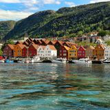 Vagen hamn i Bergen, Norge Fotografering för Bildbyråer
