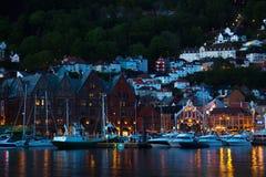 Vagen hamn i Bergen, Norge Arkivbilder