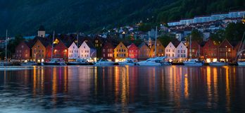Vagen harbour in Bergen, Norway. Scenic view of Bryggen on left side of Vagen harbour during the evening in Bergen, Norway Royalty Free Stock Photography