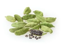 Vagens verdes do cardamon isoladas no branco Foto de Stock Royalty Free
