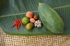 Vagetableingrediënten op Thais Voedsel Stock Afbeelding