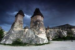 Vagga bildande nära Goreme, Cappadocia, Turkiet. fotografering för bildbyråer