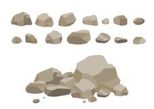 Vagga den fastställda tecknade filmen för stenen Stenar och vaggar i isometrisk plan stil 3d Uppsättning av olika stenblock Video Arkivfoto