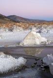 Vagga den salta Tufabildandesolnedgång mono Kalifornien för sjön naturen Arkivfoto