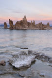 Vagga den salta Tufabildandesolnedgång mono Kalifornien för sjön naturen utomhus Royaltyfri Bild