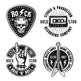 Vagga emblem för tappning för n-rullmusik, etiketter, emblem Vektor Illustrationer