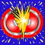 Vagga explosionen för tecknade filmen för gitarrförstärkarehögtalaren stock illustrationer