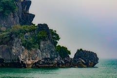 Vagga i den Halong fjärden, Vietnam Fotografering för Bildbyråer