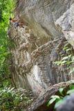 Vagga klättringkvinnan royaltyfria foton