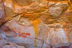 Vagga konst av folk och elefanten Sydafrika Fotografering för Bildbyråer