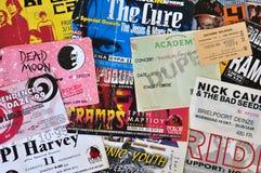 Vagga levande konsertbiljetter för musik Arkivbilder