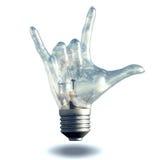 Vagga lightbulben för gesten för n-rullhorn Arkivbilder