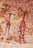Vagga målningar av Tassili N ` Ajjer, Algeriet Arkivbilder