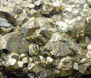 Vagga med mineraliska kristaller eller guld- för PYRIT som finnas precis av Geologis Arkivfoto
