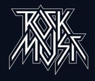 Vagga musik - den svartvita logoen för vektorn, emblem vektor illustrationer