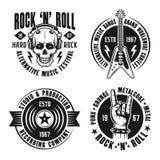 Vagga n-rullmusik fyra emblem, etiketter, emblem Stock Illustrationer