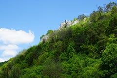Vagga och den ryska slotten på Danube River i Tyskland nära ulm Royaltyfri Bild