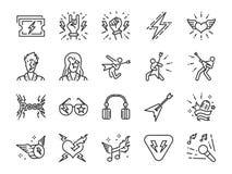 Vagga - och - rulllinjen symbolsuppsättning Inklusive symbolerna som vippa, läderpojke, konsert, sång, musiker, hjärta, gitarren  stock illustrationer