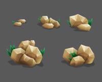 Vagga stenuppsättningen med gräs Tecknad filmstenar och vaggar i isometrisk stil Uppsättning av olika stenblock royaltyfri illustrationer