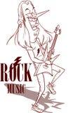 Vagga stjärnan med illustrationen för den elektriska gitarren royaltyfri illustrationer