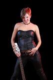 Vagga stjärnan som rymmer hennes elektriska gitarr sexig flicka Royaltyfri Foto