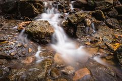 Vagga vattenfallet med flödande mjukt vatten Fotografering för Bildbyråer