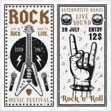 Vagga vertikala baner för musikfestival två Vektor Illustrationer