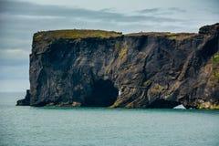 Vaggar bildande på Dyrholaey udde med den svarta sandstranden Royaltyfria Foton