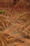 Vaggar den röda orange sandstenen för den torra dalen bildande in Arkivbilder