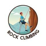 Vaggar den runda ramen för färg med nedstigning för berg för platslandskapman med utrustning klättring stock illustrationer