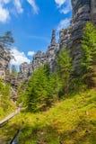 Vaggar i nationalparken av Adrspach-Teplice vaggar - Tjeckien Arkivfoton