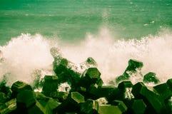 Vaggar längs havet Royaltyfria Bilder