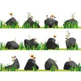 Vaggar med gräs, stenar och gräsplan Naturen vaggar, den utomhus- illustrationen, miljöväxt stock illustrationer