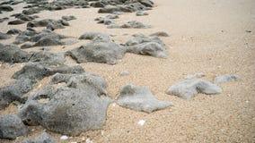 Vaggar och sand på stranden Arkivfoto