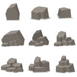 Vaggar, och stenar ställde in beståndsdelvektorn Royaltyfri Fotografi