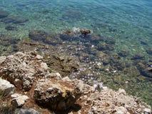Vaggar på den kroatiska stranden Arkivbild
