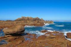 Vaggar på havskust i tidvattenvågor Arkivbild