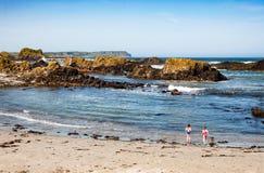 Vaggar, stranden och klippor Ballintoy som är nordlig - Irland, UK Fotografering för Bildbyråer
