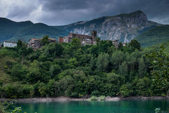 Vagli di Sotto village on Lago di Vagli, Vagli lake, Tuscany, It Royalty Free Stock Images