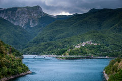 Vagli di Sotto village on Lago di Vagli, Vagli lake, Tuscany, It Royalty Free Stock Image