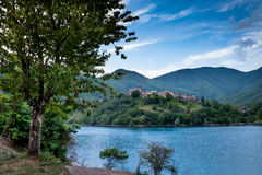 Vagli di Sotto village on Lago di Vagli, Vagli lake, Tuscany, It Stock Photography